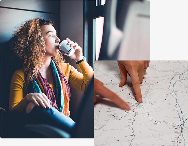 Femme qui boit un café dans le train - Plan de ligne
